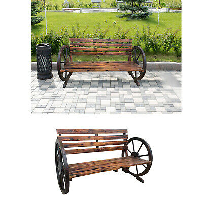 Garden Wooded Wagon Wheel 2 Seater Bench Solid Wood Outdoor Patio Furniture New