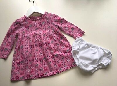 Baby Girls Pink Long-Sleeved Mothercare Party Dress & M&S Knickers, Age 3-6 Mths