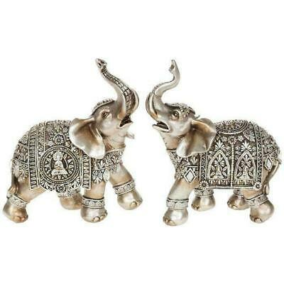 Two BUDDHA ELEPHANT Gold Silver Ornament Figurine Statue Jumbo Lucky Trunk Up
