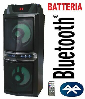 Cassa Acustica Amplificata A Batteria Ricaricabile Bluetooth Usb Sd Radio Fm Mp3