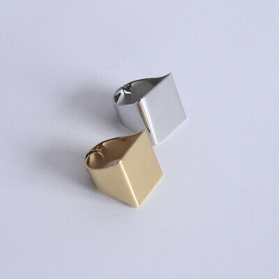 Fashion Cool Style Punk Rock Cuboid Cube 3D Square Unisex Ring Jewelry Gift Gold