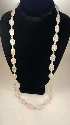 Rare antique Chinese carved graduated  rose quartz green Peking glass necklace