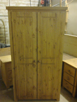 Antique Waxed Solid Pine Shaker Double Wardrobe Special Offer No Flat Packs