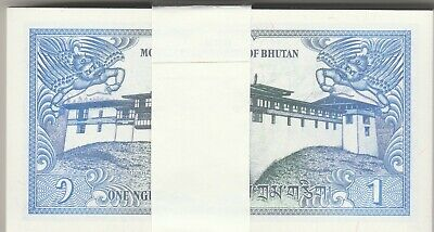 Bhutan 1 Ngultrum x 100 bundle UNC Consecutive