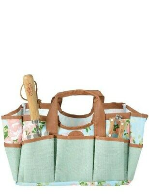 Victorian Trading Co Turquoise Wild Rose Canvas Wipe Clean Garden Tote