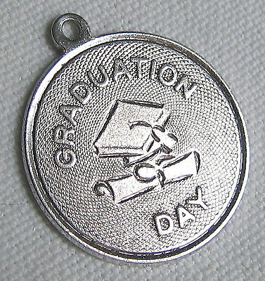 Graduation Day School Vintage Sterling Silver Charm Pendant Engrave College HS B