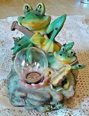 Unique! Frogs & Banjos Figurine-Clap To Activate Croaking & Flashing Lights