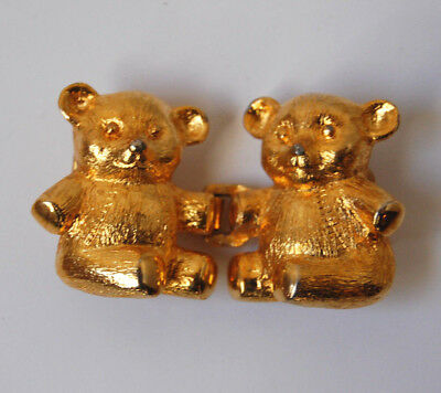 Vintage Dotty Smith Belt Buckle Teddy Bears Gold Tone Metal Designer 1980's