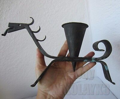 ANTIQUE primitive hand forged wrought iron dragon candle holder candlestick