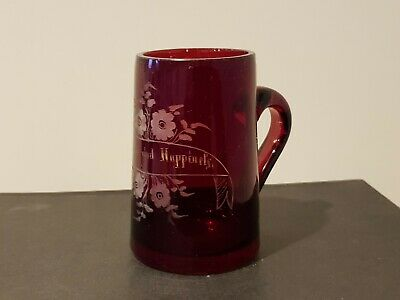 Bohemian Unusual Antique Red Glass With Handle Long Life And Happiness