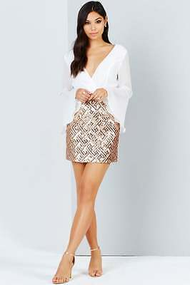 Girls On Film Rose Gold And White 2 In 1 Party Wedding Cocktail Dress Uk16 Bnwt