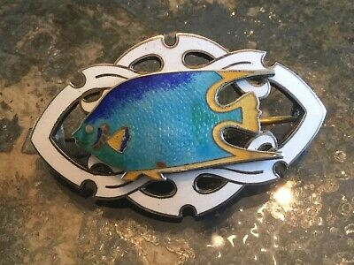 Antique Vintage Sterling with guilloche enamel tropical fish pin~brooch