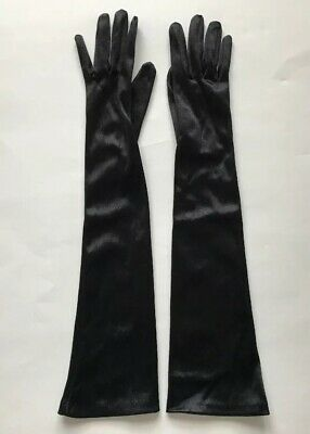 """Sexy Vintage Womens Gloves Long Ladies Satin Opera Cosplay Wet Look One Size 18"""""""