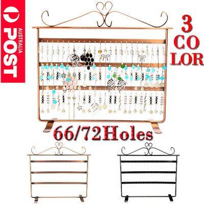 72 Holes Earring Jewelry Necklace Display Rack Metal Stand Holder Organizer OZ