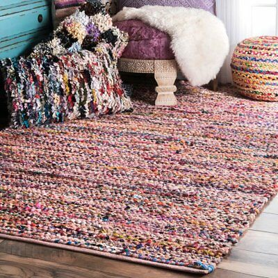 Elegant Indian Chindi Rag Rug Handmade Woven Mat Fair Trade Recycled Large Small