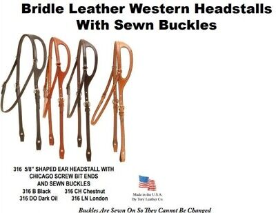 Tory Bridle Leather Western Shaped Ear Headstall #316 Choice of 4 Colors ~ NEW