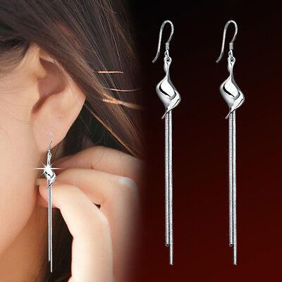 Womens 925 Sterling Silver Long Tassel Snake Chain/Link Hook Ear Stud Earrings