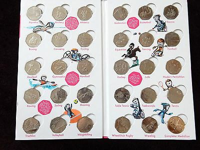 FULL Official London 2012 Olympic 50p Coin Collection Album + Completer Medalion
