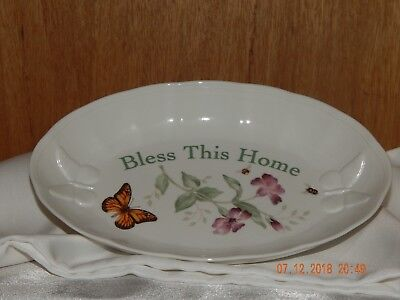 """Lenox Butterfly Meadow """"Bless This Home"""" Oval Serving Bowl Tray Laurie Le Luyer"""