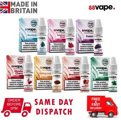 88 Vape E-Liquid   VG50/PG50  6mg  11 Flavours  10ml Bottles  Fast&Free Delivery