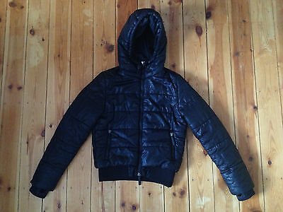 Superdry Girls Black Double Blacklabel Sports Puffa Coat Size S