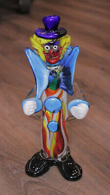 Italian Murano Vintage Clown Glass Figurine 11""