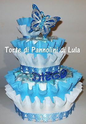 Torta di Pannolini Pampers Baby shower farfalla idea regalo nascita battesimo