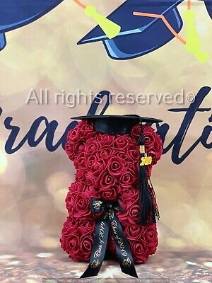 Graduation Teddy Bear Rose Class 2019 Gift Decor 10'' (25cm) WHINE RED