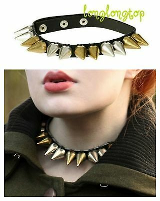 Topshop Spike Stud Faux Leather Strap Choker Collar Necklace Punk Rock New