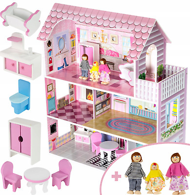 Children Wooden Doll House with Furniture and 3 Dolls for Kids 2 Years+