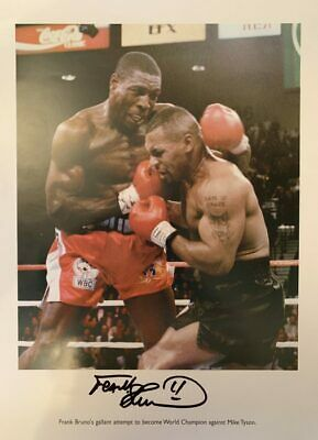 Signed Frank Bruno Autograph Boxing Print Heavyweight Champion v Mike Tyson
