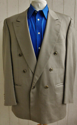 BURBERRY Mens Tan Wool Double-Breasted Blazer Sport Coat 40R