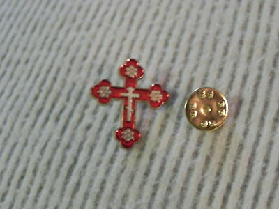 BUDDED CROSS Pin RED Enamel Lapel Christian Brooch Badge Orthodox NEW Nice