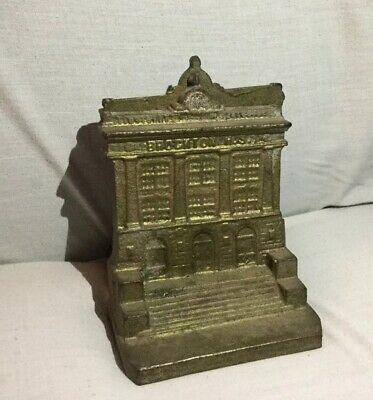 Pair Vintage Antique BROCKTON HS, High School MA, MASS Brass Building Bookends