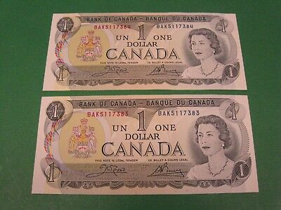 "Lot of 2  1973 Canada 1 dollar note bill crisp ""uncirculated"" .. Consecutive"