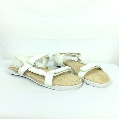 312cf355a Tory Burch womens size 6 Strappy Bumper Espadrille Sandal Flat White Leather  195