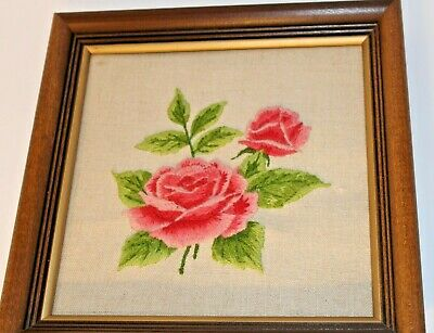 Vintage Crewel Embroidery Pink Flowers Roses with Frame Wall Art Home Decor