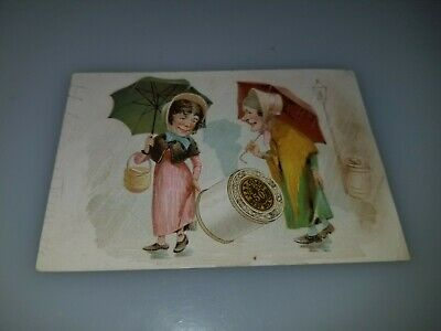 Antique Victorian Trade Card Jp Coats Best Six Cord Spool Cotton Women Umbrellas