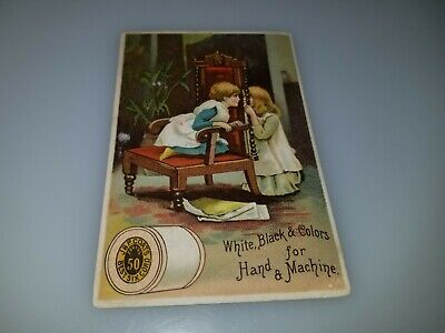 Antique Victorian Trade Card Jp Coats Best Six Cord Spool Cotton Girls Playing