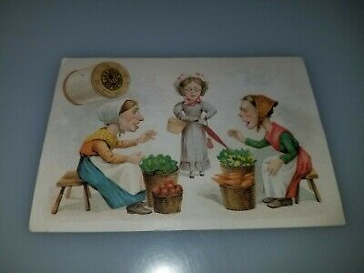 Antique Victorian Trade Card Jp Coats Best Six Cord Spool Cotton Fruit Baskets