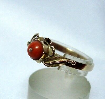 Zauberhafter Korallen Ring 333 Gold Goldring Rotgold Koralle old coral / BQ 135
