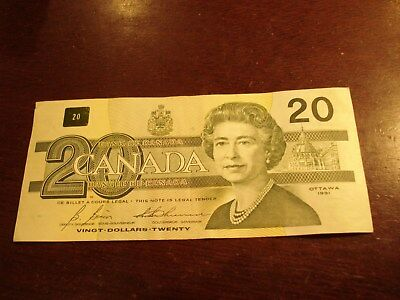 1991 - Canada twenty dollar bill - $20 Canadian note - AIZ5869238