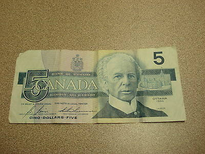 1986 - Canada five dollar bill - $5 Canadian note - GPG4130809