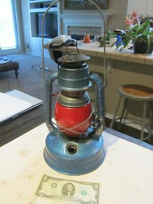 Dietz No. 100 Lantern P G & E Co. Blue w/ Red Globe New York USA Vintage Antique
