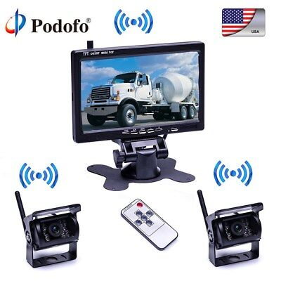 "2× Wireless Rear View Backup Camera Night Vision + 7"" Monitor For RV Truck Bus"