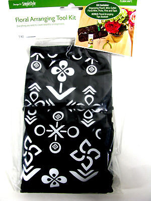 FloraCraft Floral Arranging Tool Kit Pouch Wire Cutter Tape Picks Pins Booklet