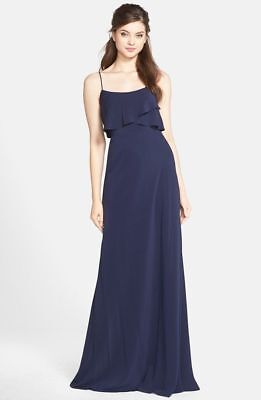 9d4d4d46502 Jenny Yoo Blake Bib front crepe de Chine Gown Navy Blue SIZE 6  338AT NWT