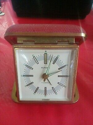 Vintage Europa alarm clock, Wind up, 2 jewels, made in Germany, Glow Hands