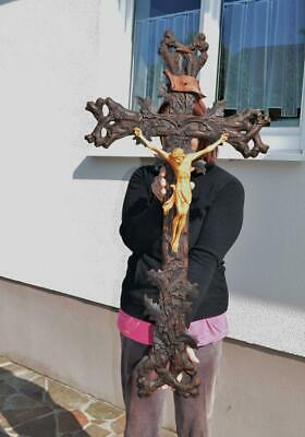 19thc Black forest ANTIQUE CRUCIFIX  Christ Cross wood mint condition 38.7 in
