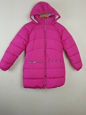 Next Girls Bright Pink Long Padded Coat Shower Resistant Hooded Jacket 12 Years